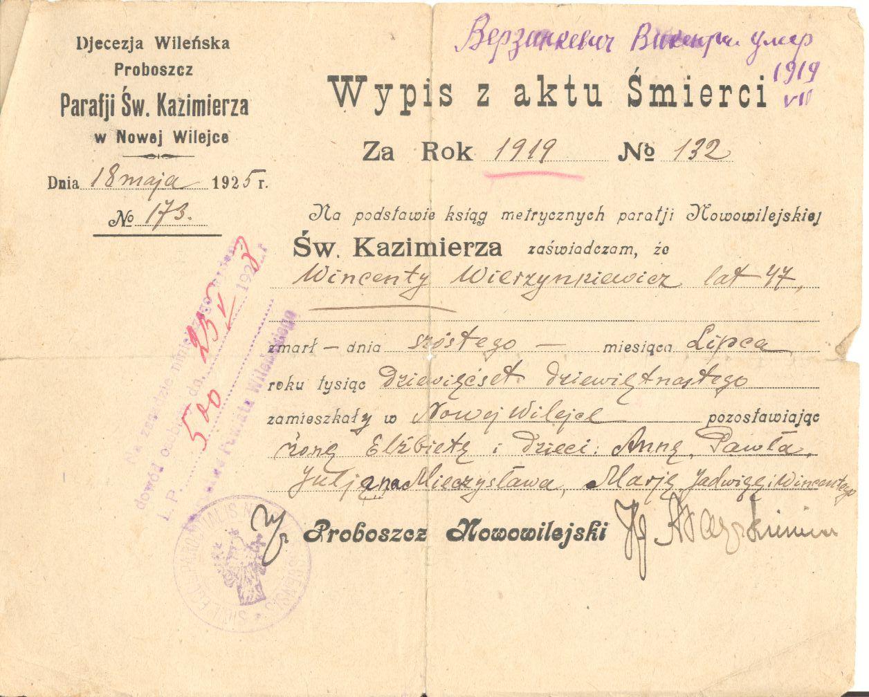 Akt zgonu Wincentego Wierzinkiewicza